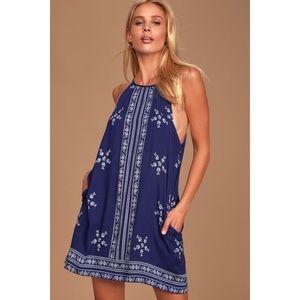 NWOT Lulu's Boho Floral Embroidered Halter Dress